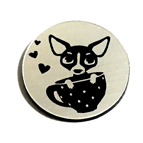 1 Piece. Chihuahua In A Teacup Cabochon -Acrylic Laser Cut Shapes