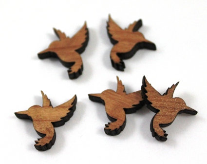 Laser Cut Supplies-8 Pieces.Humming Bird Charms-Acrylic.Wood Laser Cut Shapes