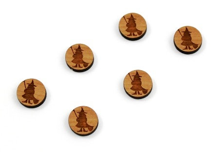 8 Pieces. Standing Witch Mini Charms-Wood Laser Cut Shape