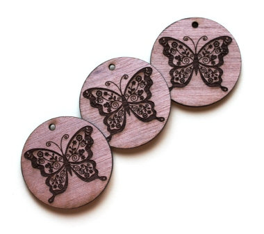 Laser Cut Supplies-1 Piece. Butterfly Charms-Acrylic. Wood Laser Cut Shape