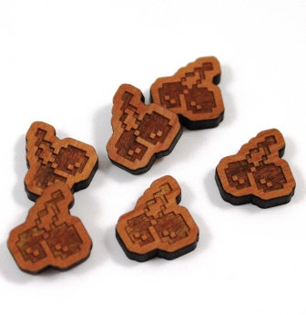 Laser Cut Supplies-8 Pieces.Retro Cherry Charms-Acrylic.Wood Laser Cut Shapes