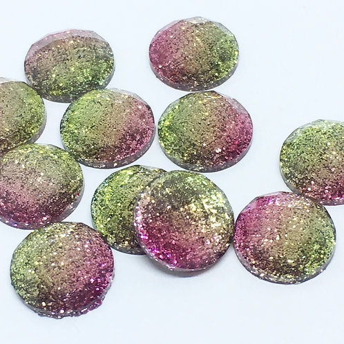 10 Pieces. Watermelon. 12mm Round Glitter Resin Mini Charms