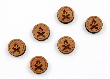 8 Pieces. Camp Fire Charms-Wood Laser Cut Shape