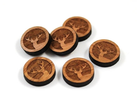 Laser Cut Supplies-8 Pieces. Stag Charms-Acrylic.Wood Laser Cut Shapes