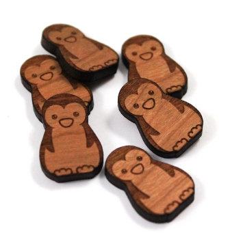 Laser Cut Supplies-8 Pieces.Penguin Charms-Acrylic.Wood Laser Cut Shapes