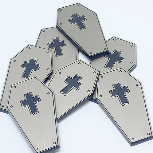 Laser Cut Supplies-8 Piece. Coffin Charms-Acrylic and Wood Laser cut Shapes