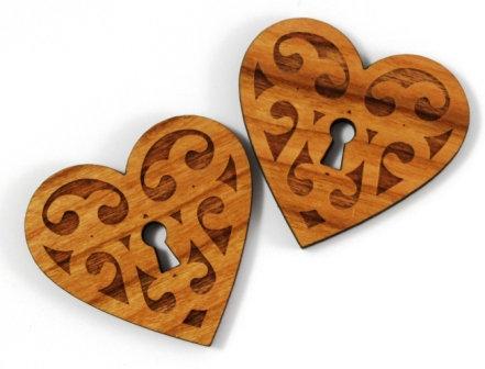 Laser Cut Supplies-1 Piece. Heart Lock Charms-Acrylic. Wood Laser Cut Shape