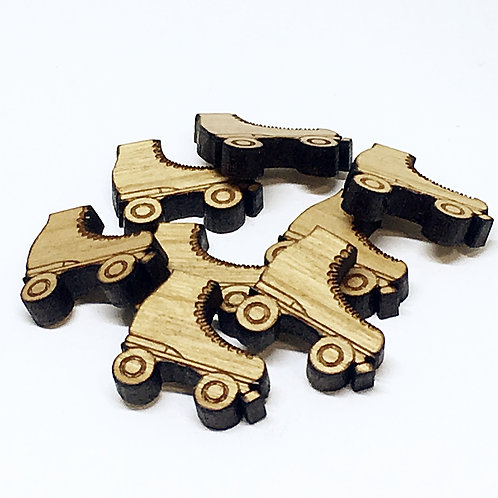 Laser Cut Supplies-8 Pieces. Roller Skate Charms-Acrylic.Wood Lasercut Shapes