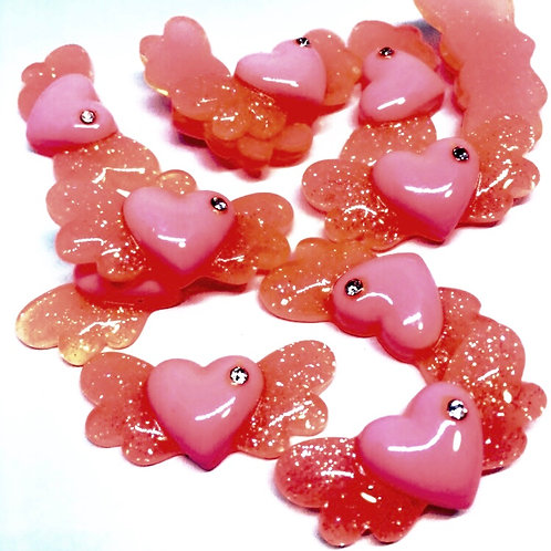 1 Piece. Glitter Pink Heart With Wings And Rhinestone Resin Cabochon Flatbacks