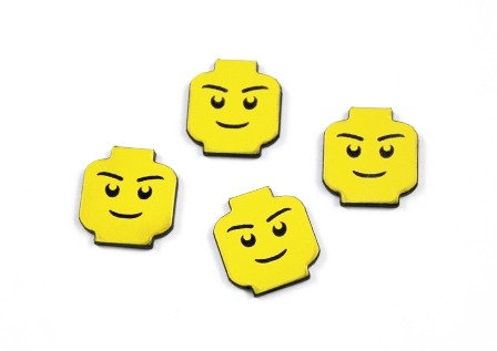 Laser Cut Supplies-8 Piece. Block Man Charms-Acrylic and Wood Laser Cut Shapes