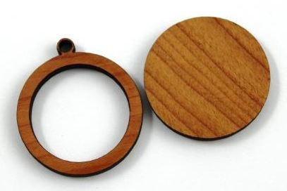 Laser Cut Supplies-1 Piece. Frame Round Charms-Acrylic. Wood Laser Cut Shape