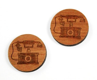 1 Piece. Vintage Telephone Charms-Acrylic. Wood Laser Cut Shapes
