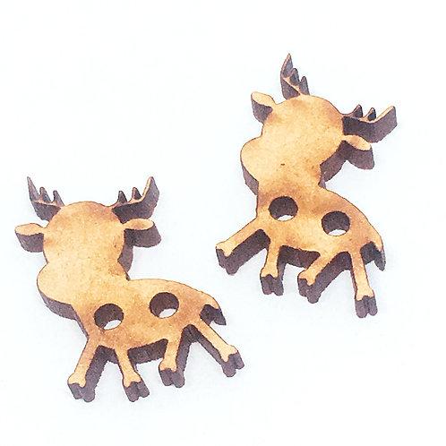 Lasercut Craft Wood Reindeer –1 Piece. 25mm Wide. Scrapbook. Woo