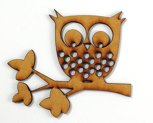 1 Piece . Owl On A Branch MDF Craftwood Laser Cut Shape