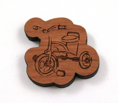 1 Piece. Vintage Tricycle Charms- Wood Laser Cut Shapes