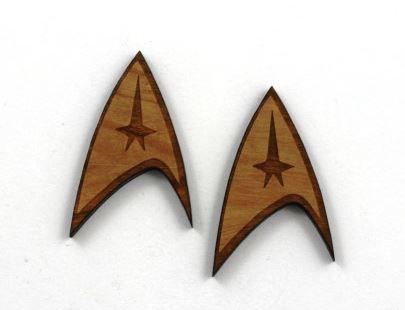 Laser Cut Supplies- 1 Piece.Star Trek Charms-Acrylic. Wood Laser Cut Shapes
