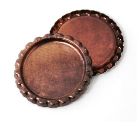 10 Pieces.Two Sided Copper Patina Bottle Caps Flattened