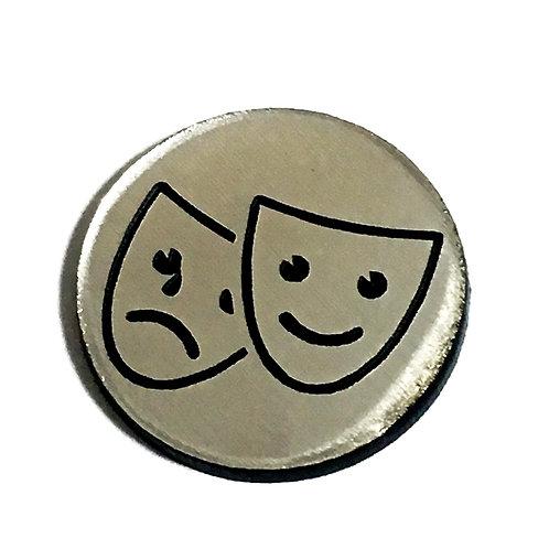 8 Piece. Happy and Sad Mask Mini Cabochons-Acrylic Laser Cut Shapes
