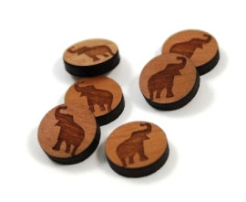 Laser Cut Supplies-8 Pieces. Lucky Elephant Charms-Acrylic.Wood Laser Cut Shapes