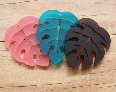 1 Piece. Frosted Monstera Dangles-Includes Holes. Laser Cut Jewelry Supplie