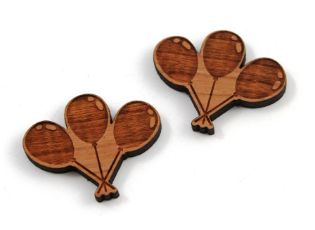 1 Piece. Celebration Balloon Charms- Wood Laser Cut Shapes