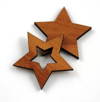 1 Piece. Star Bezel Charms- Wood Laser Cut Shapes