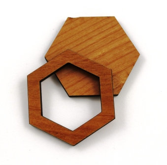 1 Piece. Hexagon Bezel Charms- Wood Laser Cut Shapes