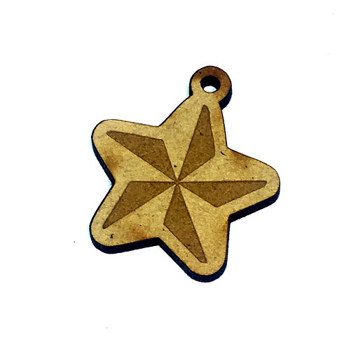 8 Pieces. Christmas Star Mini Laser Cut Charms- Customize Your Laser Cut Sha