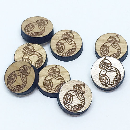 8 Pieces. Little Droid Mini Charms-Wood Laser Cut Shape