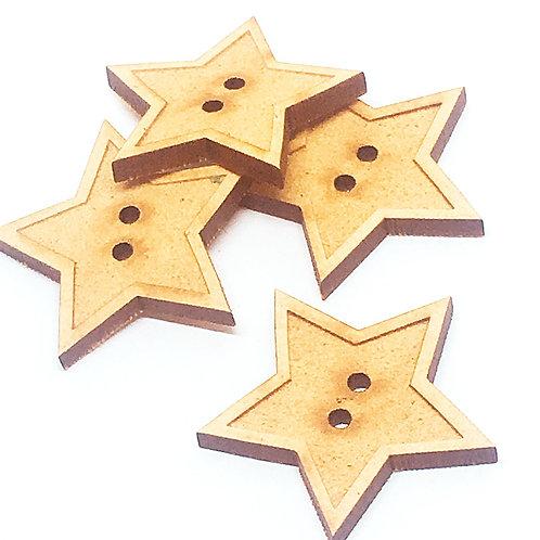 Lasercut Craft Wood Medium Star –1 Piece. 30mm Wide. Scrapbook. Wood C