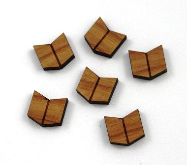 8 Pieces. Chevron Charms-Wood Laser Cut Shape