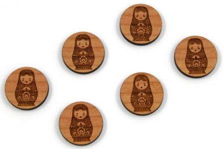 Piece. Pretty Russian Doll Charms- Wood Laser Cut Shapes