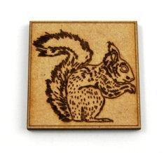 Laser Cut Supplies-1 Piece. Squirrel Tile-Acrylic. Wood Laser Cut Sha