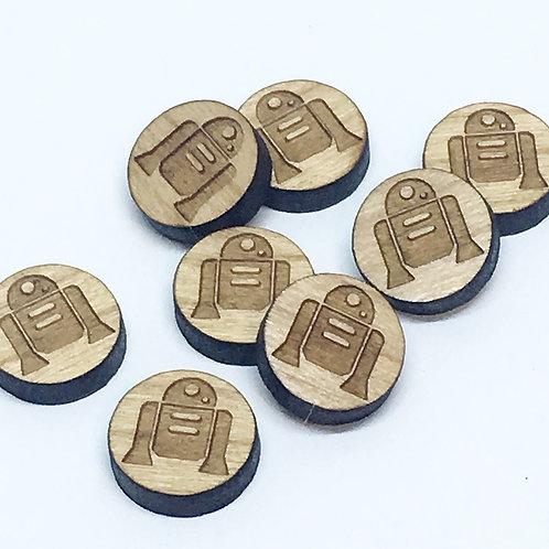 8 Pieces. R2D2 Mini Charms-Wood Laser Cut Shape