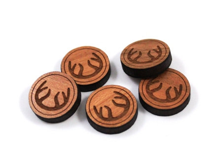 Laser Cut Supplies-8 Pieces. Antler Charms-Acrylic.Wood Laser Cut Shapes