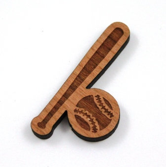 1 Piece. Baseball Fan Charms- Wood Laser Cut Shapes