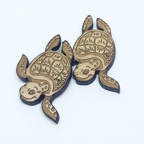 1 Piece. Friendly Turtle Charms- Wood Laser Cut Shapes