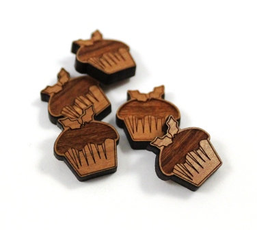 Laser Cut Supplies-8 Pieces. Pudding Charms-Acrylic.Wood Laser Cut Shapes