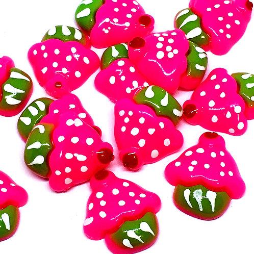 1 Piece. Hot Pink Cupcake Resin Cabochon Flat Back Embellishments