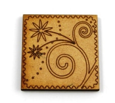 Laser Cut Supplies-1 Piece. Swirl Flower Tile-Acrylic. Wood Laser Cut Shape