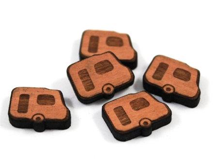 Laser Cut Supplies-8 Pieces. Caravan Charms-Acrylic.Wood Laser Cut Shapes