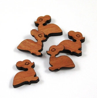 Laser Cut Supplies-8 Pieces. Sitting Fawn Charms-Acrylic.Wood Laser Cut Shapes