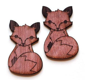 Laser Cut Supplies-1 Piece. Sitting Fox Charms-Acrylic. Wood Laser Cut Shape
