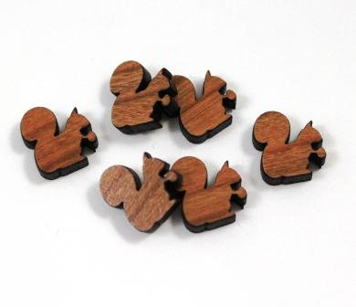 Laser Cut Supplies-8 Pieces. Squirrel & Nut Charms-Acrylic.Wood Laser Cut Shapes