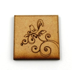 Laser Cut Supplies-1 Piece. Bird Tile-Acrylic. Wood Laser Cut Shape