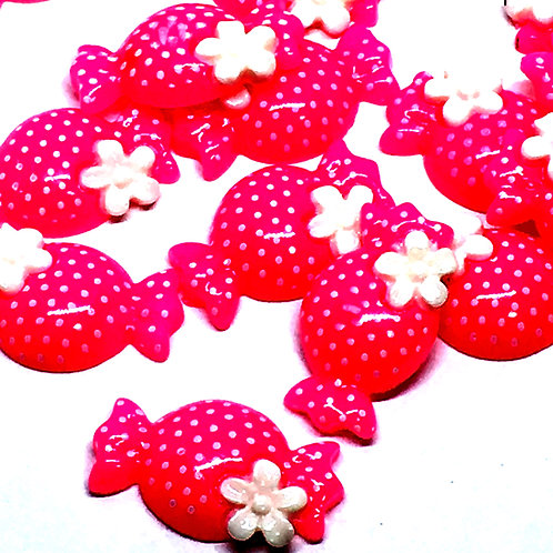 1 Piece. Hot Pink Candy Resin Cabochon Flatback