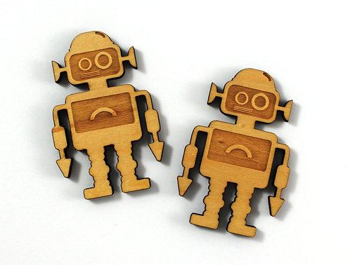Laser Cut Supplies-1 Piece. Robot Charms-Acrylic. Wood Laser Cut Shape