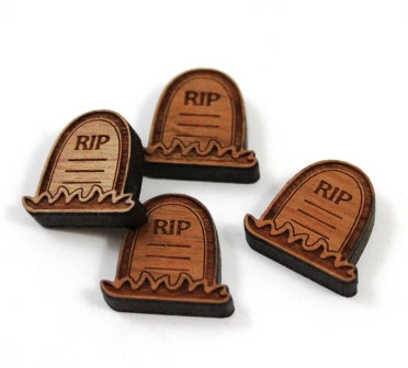 Laser Cut Supplies-8 Pieces. Grave Stone Charms-Acrylic.Wood Laser Cut Shapes