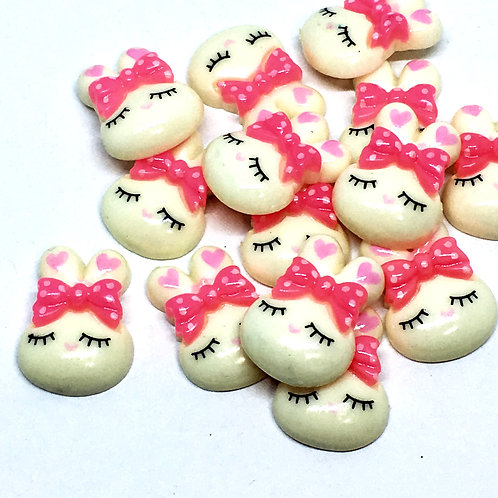1 Piece. Sleeping Bunny Resin Cabochon Flat Back Embellishments