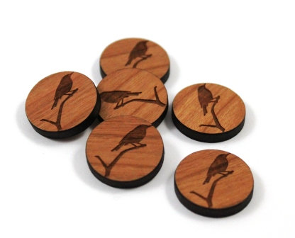 Laser Cut Supplies-8 Pieces. Wren Charms-Acrylic.Wood Laser Cut Shapes